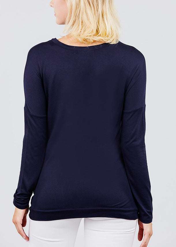 Button Detail Navy Tunic Top