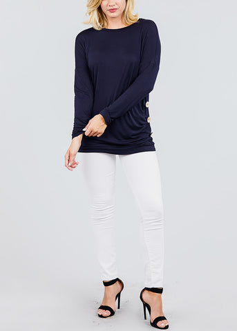 Image of Button Detail Navy Tunic Top