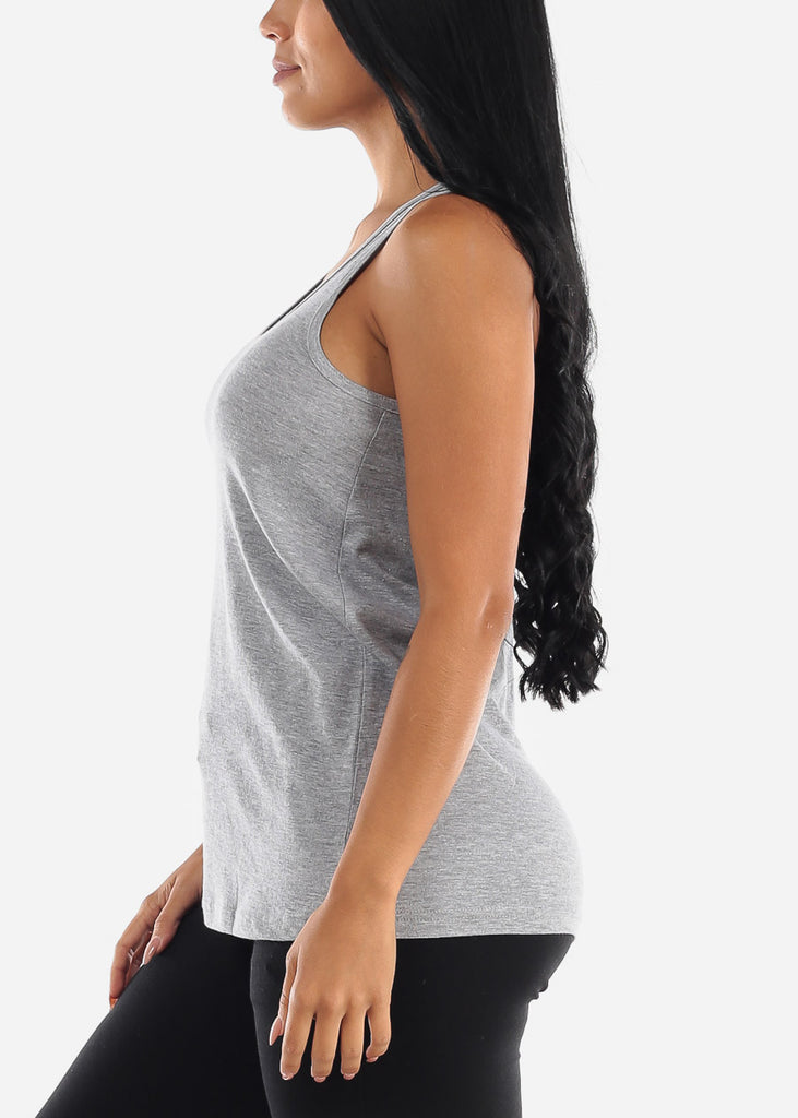 Grey Loose Fit Jersey Tank Top