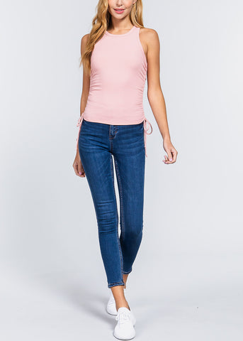 Pink Ruched Drawstring Top