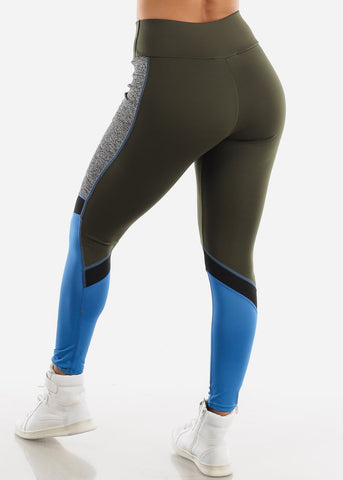 Activewear Olive Colorblock Leggings