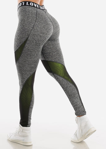 "Activewear High Rise Grey Leggings ""Love"""