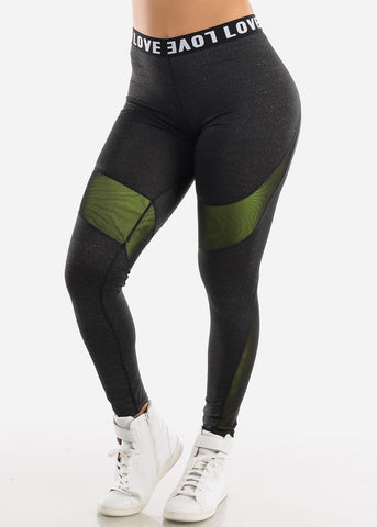 "Activewear High Rise Charcoal Leggings ""Love"""