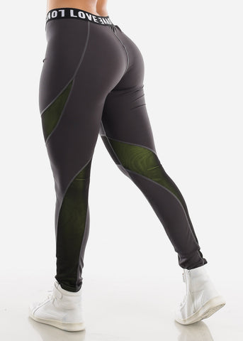 "Activewear High Rise Dark Grey Leggings ""Love"""
