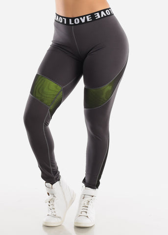 "Image of Activewear High Rise Dark Grey Leggings ""Love"""