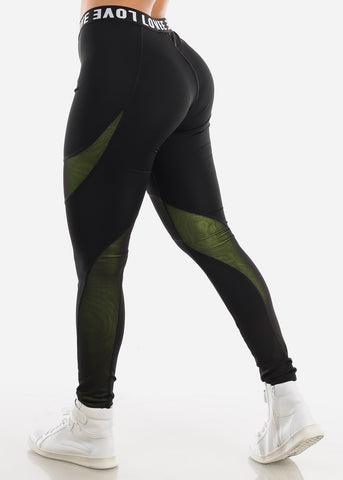 "Image of Activewear High Rise Black Leggings ""Love"""