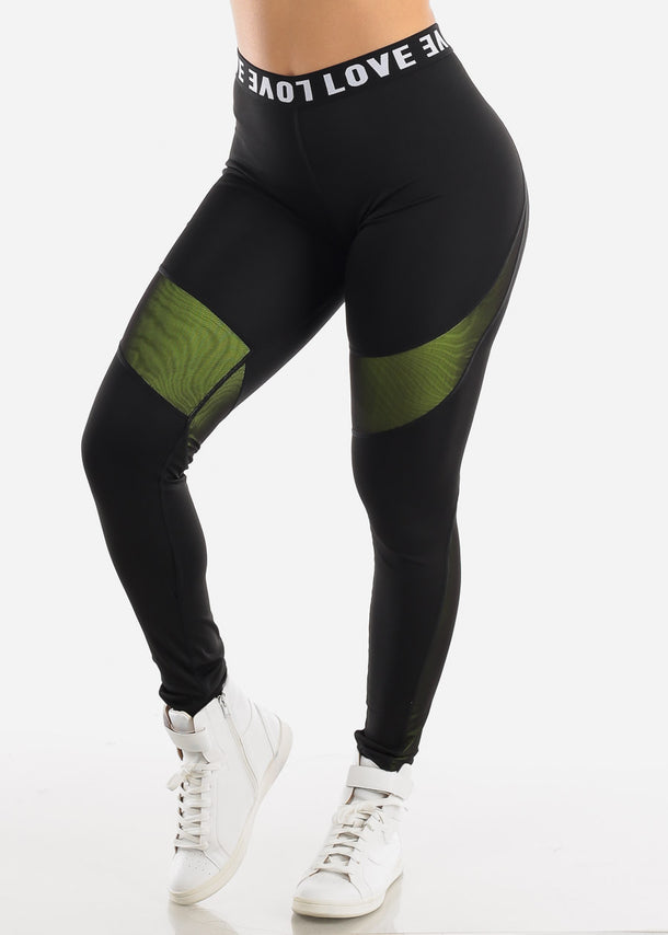 "Activewear High Rise Black Leggings ""Love"""
