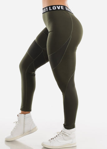 "Image of Activewear High Rise Olive Leggings ""Love"""