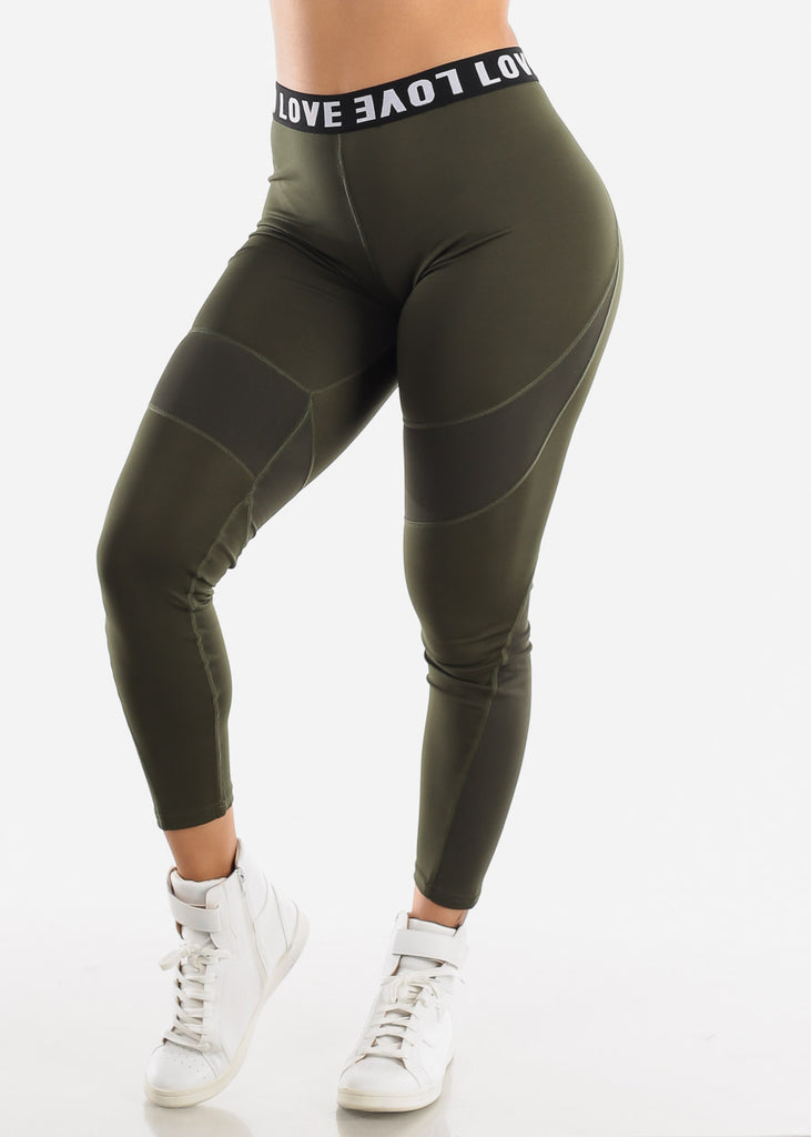 "Activewear High Rise Olive Leggings ""Love"""