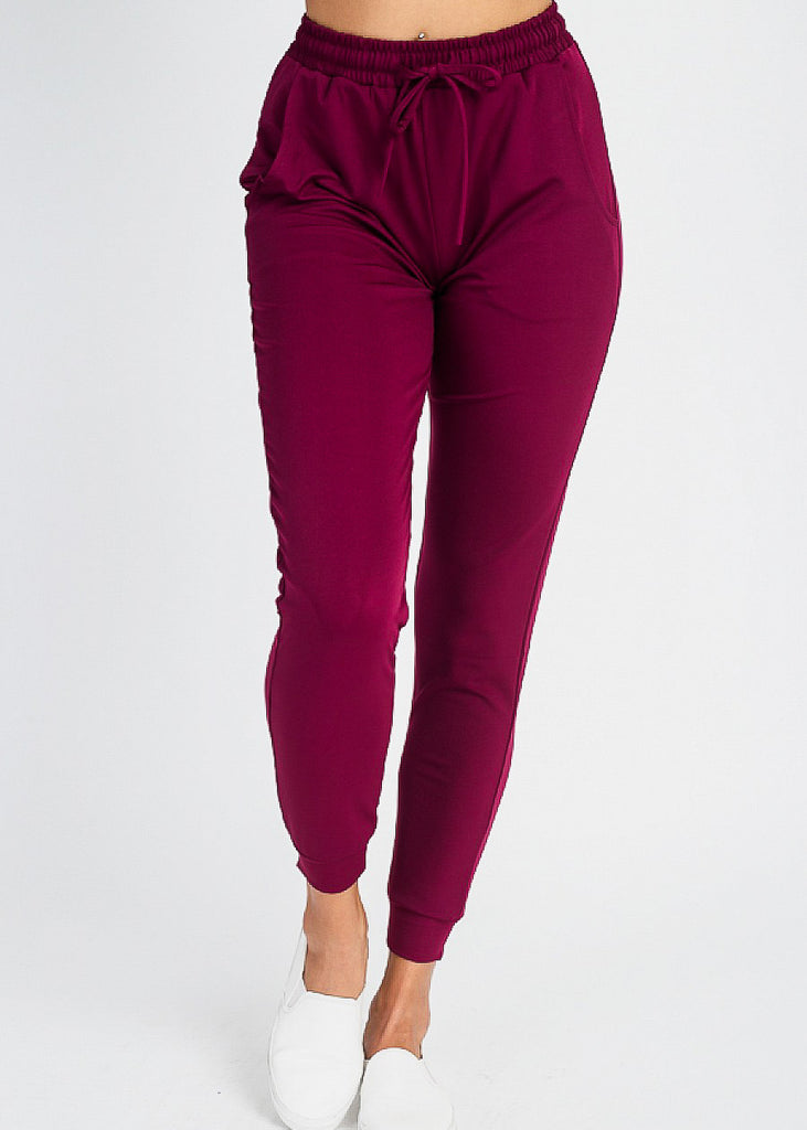 High Waist Burgundy Jogger Pants
