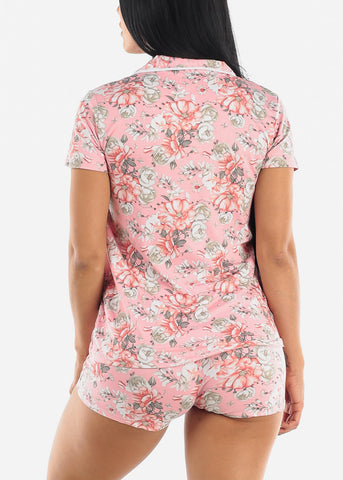 Image of Floral Pink Short Sleeve Pajama Set