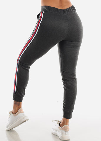 Image of Stripe Sides Charcoal High Waisted Jogger Pants