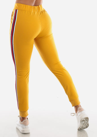 Image of Stripe Sides Mustard High Waisted Jogger Pants
