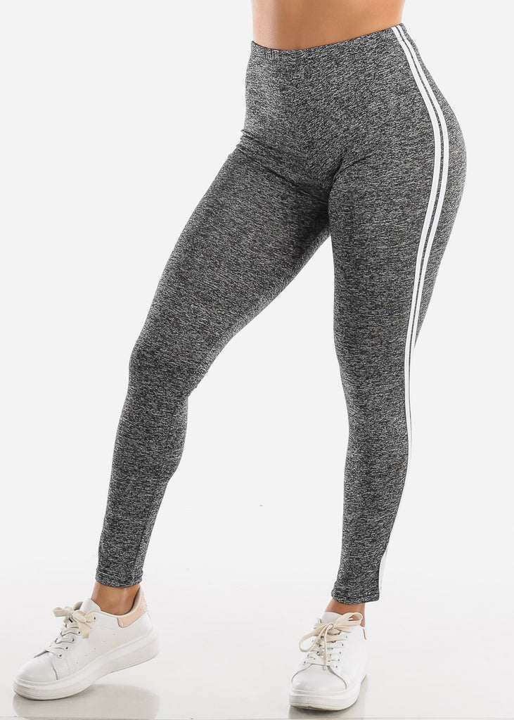 Activewear Stripe Sides Grey Leggings