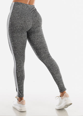Image of Activewear Stripe Sides Grey Leggings