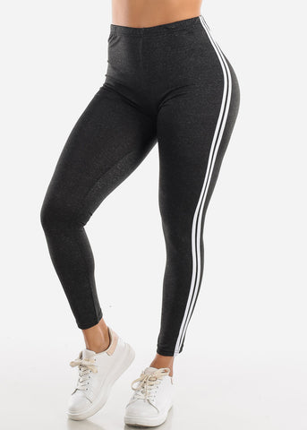 Image of Activewear Stripe Sides Charcoal Leggings