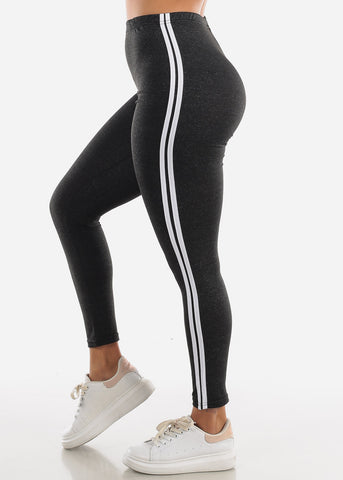 Activewear Stripe Sides Charcoal Leggings