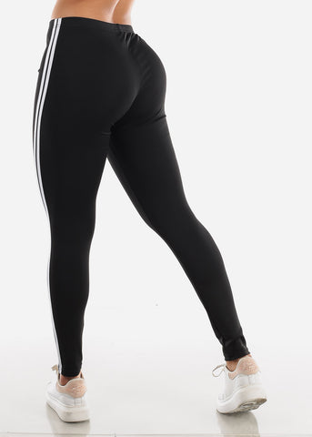 Activewear Stripe Sides Black Leggings