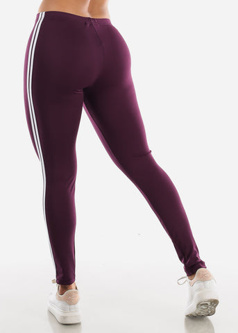 Image of Activewear Stripe Sides Purple Leggings