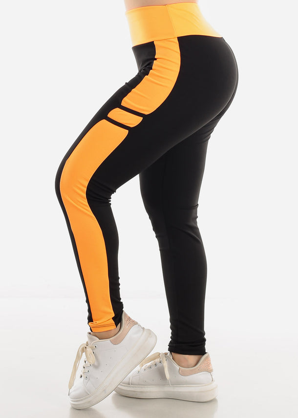 Black & Orange High Waist Leggings