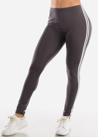 Image of Activewear Stripe Sides Dark Grey Leggings