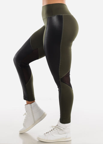 Image of Activewear Pleather Detail Olive Leggings