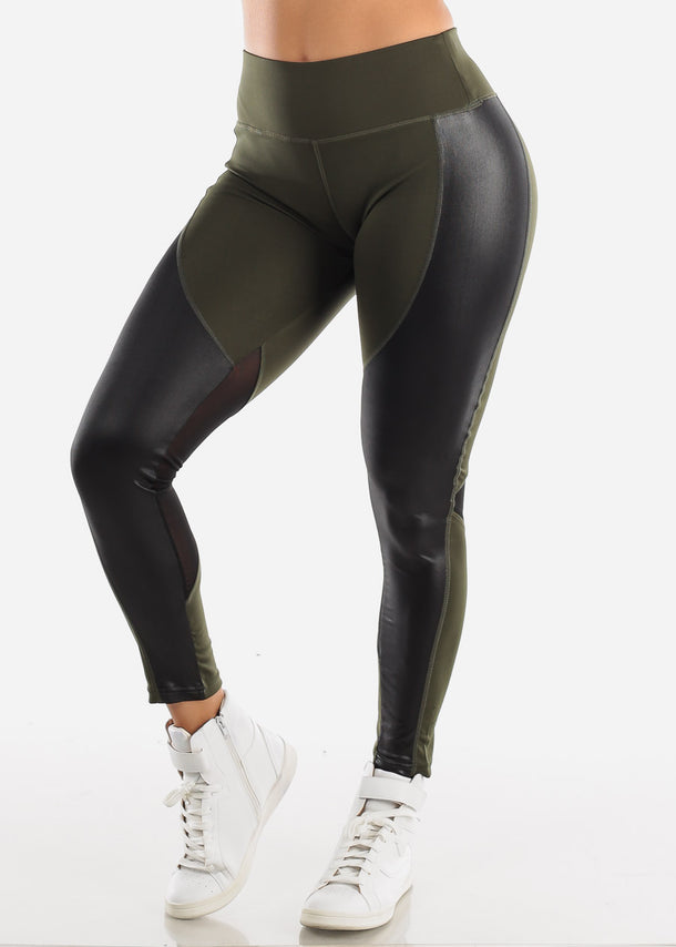 Activewear Pleather Detail Olive Leggings