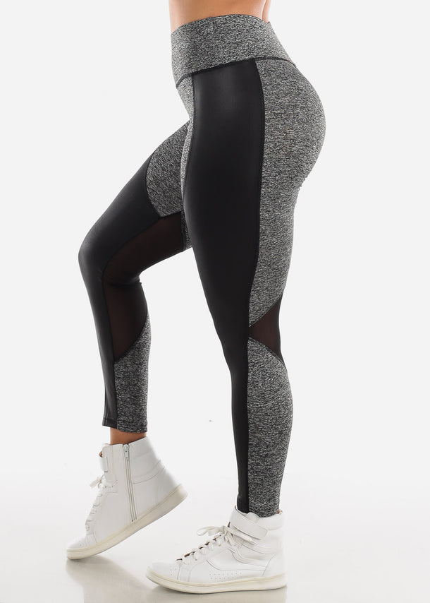 Activewear Pleather Detail Grey Leggings