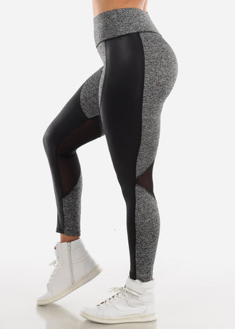 Image of Activewear Pleather Detail Grey Leggings