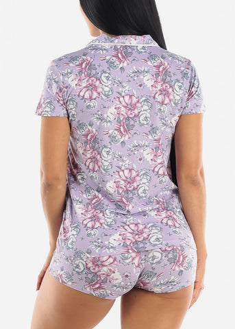Image of Floral Purple Short Sleeve Pajama Set