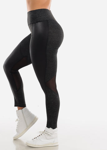 Image of Activewear Pleather Detail Charcoal Leggings
