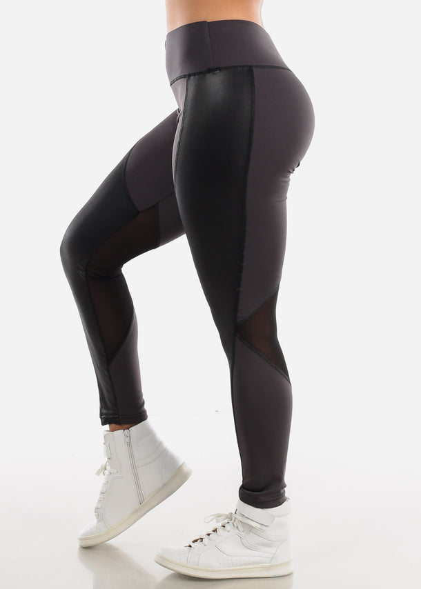 Activewear Pleather Detail Dark Grey Leggings