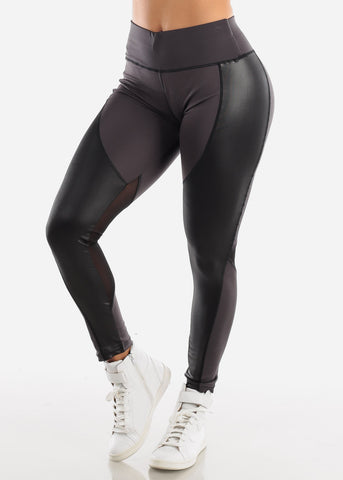 Image of Activewear Pleather Detail Dark Grey Leggings