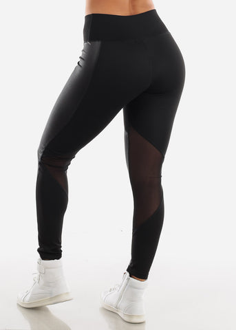 Image of Activewear Pleather Detail Black Leggings