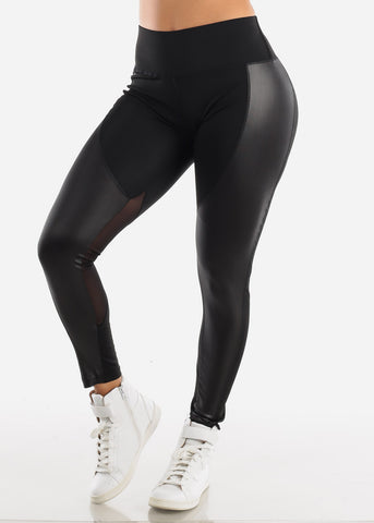Activewear Pleather Detail Black Leggings