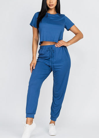 Women's Blue 2 Piece Matching Set