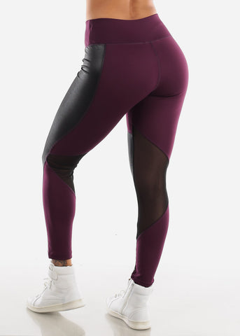Image of Activewear Pleather Detail Purple Leggings