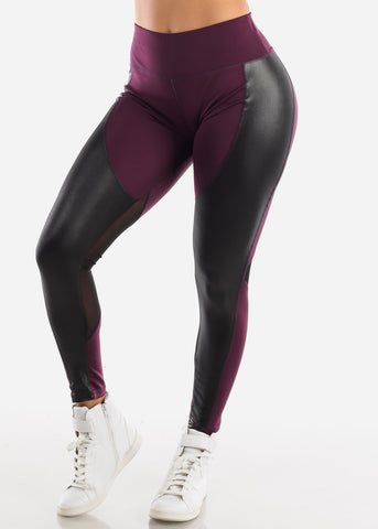 Activewear Pleather Detail Purple Leggings