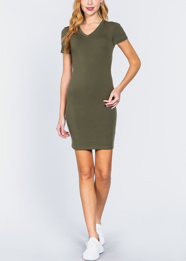 Green V-Neck Bodycon Dress