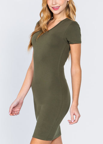 Image of Green V-Neck Bodycon Dress