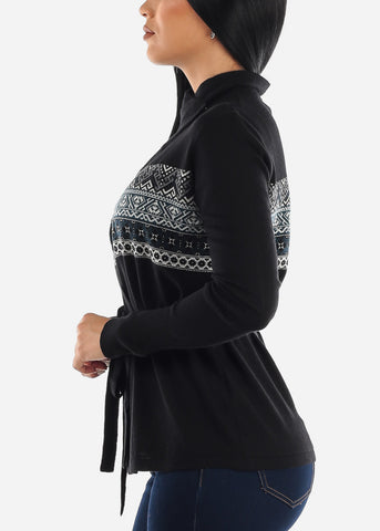 Black Printed Cardigan with Belt
