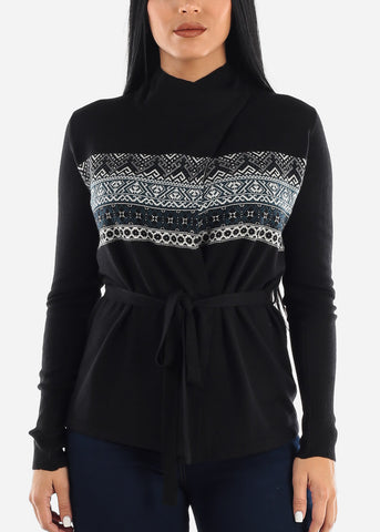 Image of Black Printed Cardigan with Belt