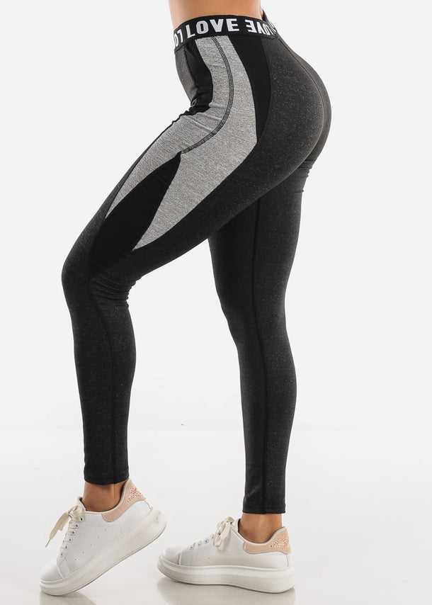 "Activewear Charcoal Leggings ""Love"""