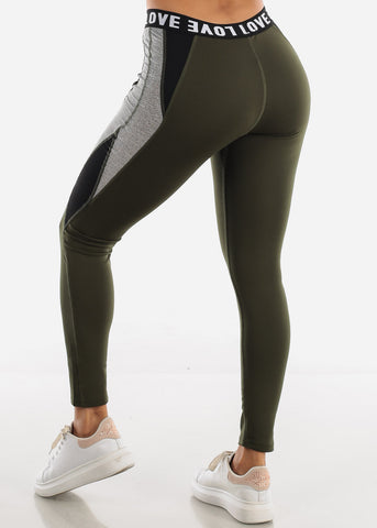 "Image of Activewear Olive Leggings ""Love"""