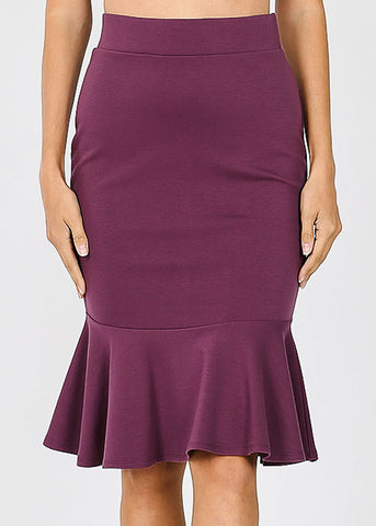 High Rise Purple Peplum Skirt