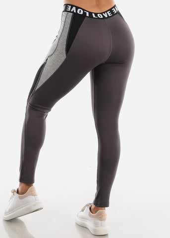 "Activewear Dark Grey Leggings ""Love"""