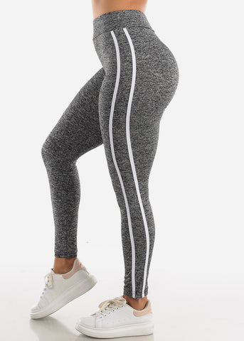 Image of Activewear Grey Stripe Sides Leggings