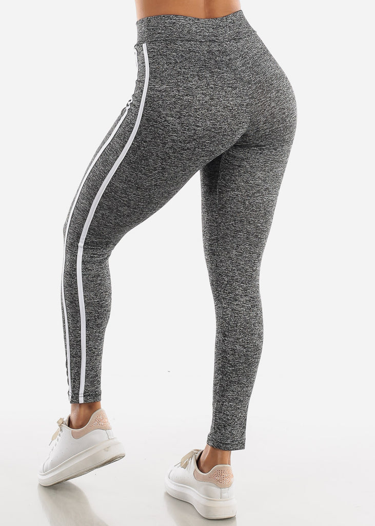 Activewear Grey Stripe Sides Leggings