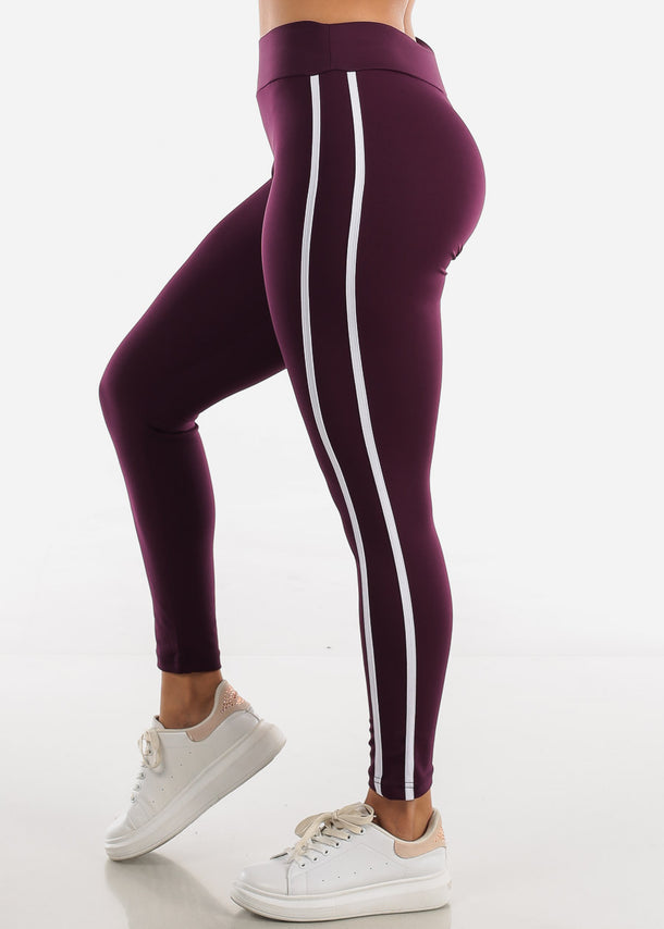 Activewear Purple Stripe Sides Leggings