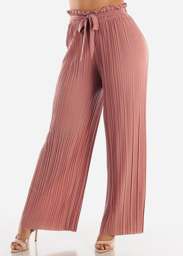 Mauve Pleated Wide Legged Pants